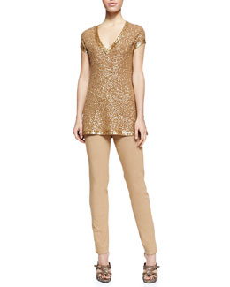 Donna Karan Sequined Cashmere Cap-Sleeve Tunic & Fold-Over Tube Pants