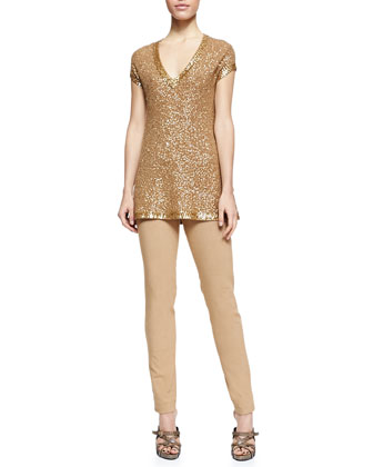 Sequined Cashmere Cap-Sleeve Tunic & Fold-Over Tube Pants