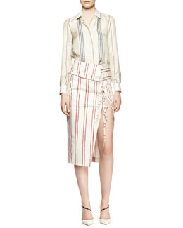 Altuzarra Chika Long-Sleeve Striped Blouse and Striped Tie-Slit Fold-Over Skirt