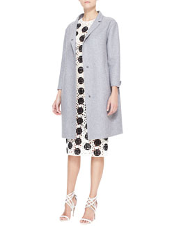Burberry Prorsum Double-Faced Cashmere Caban Coat & Spotted Curlicue Embroidered Lace Midi Dress