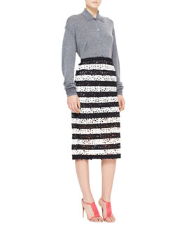 Burberry Prorsum Heathered Polo Shirt Cardigan & Striped Curlicue Embroidered Lace Midi Skirt