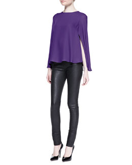 Cushnie et Ochs Silk Georgette Cape Blouse and Python-Embossed Leather Leggings