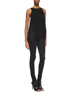 Alice + Olivia Lindsay Lace-Detail Tank Top & Seamed-Detail Combo Leggings