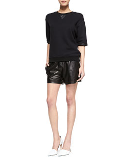 Vince Leather-Trim Knit Sweatshirt & Perforated Leather Boxer Shorts