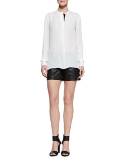 Vince Long-Sleeve Silk Blouse & Lamb Leather Shorts