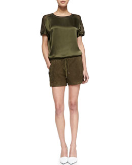 Vince Satin/Jersey Loose Top & Suede Drawstring Boxer Shorts