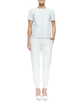 Vince Silk/Perforated Leather Tee & Georgette Leather-Trim Sweatpants