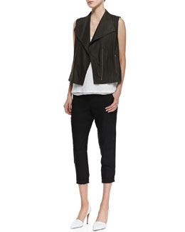 Vince Lightweight Leather Zip Vest, Linen/Silk Layered Tank & Slim Cropped Cargo Pants
