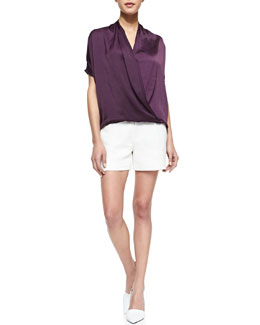 Vince Draped Satin Wrap Blouse & Pintucked Relaxed Jacquard Shorts