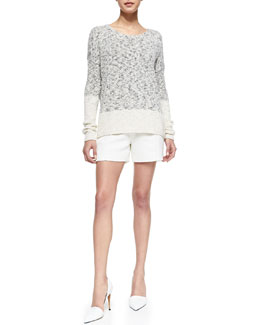 Vince Marbled Blocked Knit Sweater & Pintucked Relaxed Jacquard Shorts