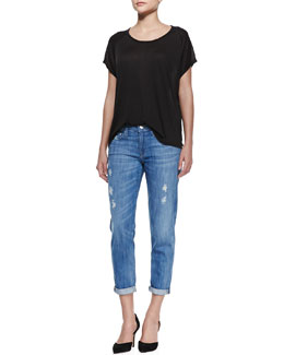 Vince Stitch-Trim Jersey Tee & Mason Relaxed Distressed Cuffed Jeans