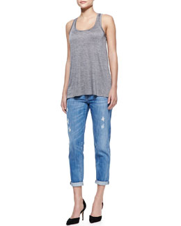 Vince Draped Sleeveless Slub Tank & Mason Relaxed Distressed Cuffed Jeans