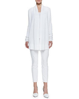 Vince Ribbed Draped Open Cardigan, Loose Sleeveless Jersey Tank & Dylan Slim Ankle Jeans