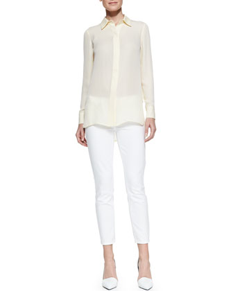 Georgette Button-Down Blouse & Dylan Slim Ankle Jeans