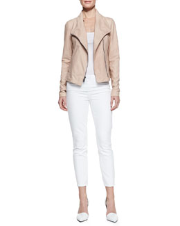 Vince Leather Scuba Shawl-Collar Jacket & Dylan Slim Ankle Jeans