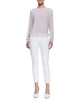 Vince Silk/Rayon Sheer-Sleeve Sweatshirt & Dylan Slim Ankle Jeans