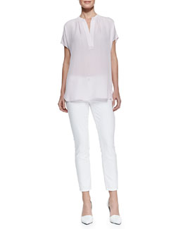 Vince Cap-Sleeve Silk Popover Blouse & Dylan Slim Ankle Jeans
