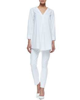 Theory Quida Sateen V-Neck Blouse & Billy All White Five-Pocket Pants