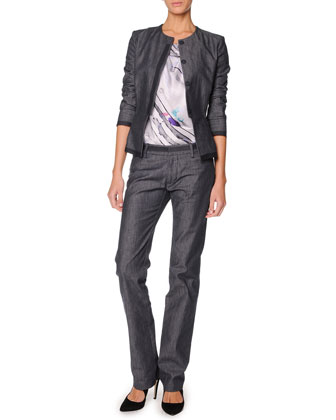 Collarless Denim Jacket, Sleeveless Watercolor Silk Satin Top & Relaxed Trousers