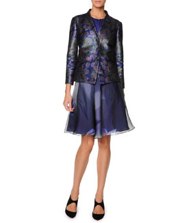 Giorgio Armani Collarless Floral Jacquard Jacket, Sleeveless Buttoned Silk Satin Top & Floral Silk Organza Skirt
