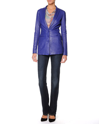 Three-Button Plonge Leather Jacket, Paintbrush-Stroked Blouse & Straight-Leg Washed Denim Jeans