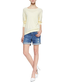 Vince Raglan-Sleeve Relaxed Sweatshirt & Mason Rolled Wrecked Denim Shorts
