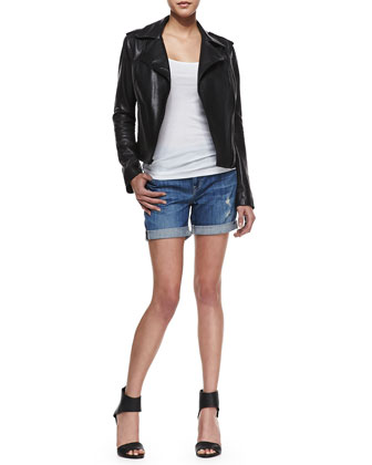 Smooth Leather Motorcycle Jacket, Ribbed Favorite Tank & Mason Distressed Cuffed Denim Shorts