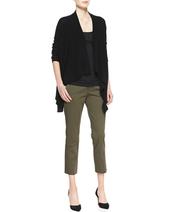 Ribbed Draped Open Cardigan, Favorite Tank & Tab-Waist Cropped Trousers