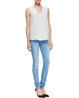 Vince Leather-Front Silk Blouse & Riley Skinny Jeans