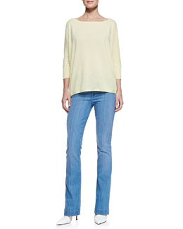 Vince Boat-Neck Knit Pullover & High-Rise Boot-Cut Jeans