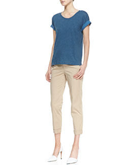 Vince Rolled-Sleeve Cotton Tee & Cuffed Twill Boyfriend Trousers