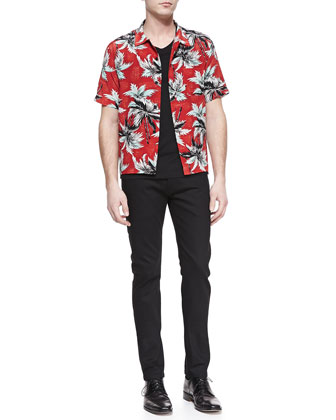 Palm Tree Print Shirt & Stretch Slim-Fit Jeans