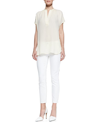 Cap-Sleeve Silk Blouse & Dylan Slim Ankle Jeans