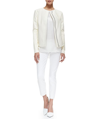 Perforated Leather Zip Jacket, Silk/Jersey Short-Sleeve Tee & Dylan Slim Ankle Jeans