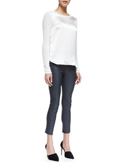 Vince Satin-Front Jersey Tee & Cropped Skinny Leather Leggings