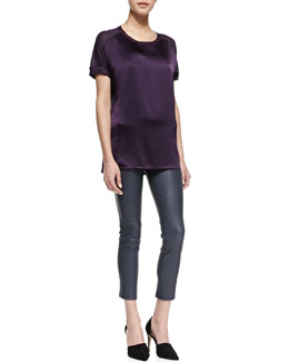 Vince Silk/Jersey Short-Sleeve Tee & Riley Skinny Leather Pants