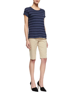 Vince Striped Rolled-Sleeve Slub Top & Side-Buckle Bermuda Shorts