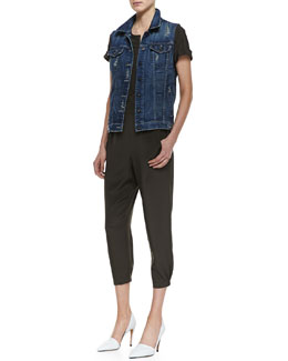 Vince Alex Distressed Denim Vest & Short-Sleeve Satin Jumpsuit