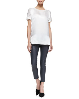 Vince Silk/Jersey Short-Sleeve Tee & Cropped Skinny Leather Leggings