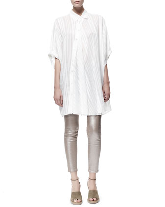 Cesar Asymmetric Button-Front Oversized Tunic & Metallic Skinny Ankle Grazer Jeans