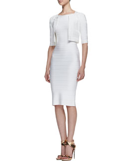 Herve Leger 3/4-Sleeve Textured Jacket & Boat-Neck Bandage Dress, Alabaster