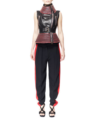 Zip-Trim Motorcycle Vest & Side-Stripe Leaf Crepe Pant