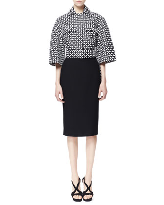 High-Low Laser-Cut Cotton Jacket & Single Pencil Crepe Skirt