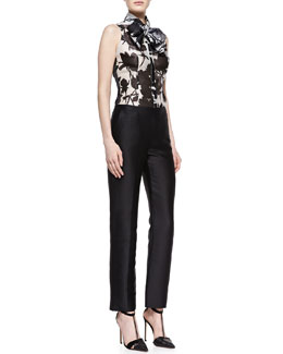Carolina Herrera Sleeveless Rose-Print Tie Blouse & Silk Crepe Wide-Leg Trousers