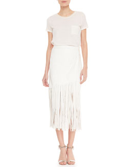 Tamara Mellon Short-Sleeve Cashmere Sweater & Fringe Leather Midi Skirt