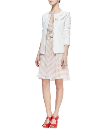 Sweet Lover Textured Crepe Jacket & Subtle Hint Striped Silk Dress