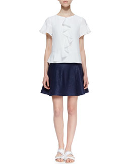 Nanette Lepore Fluttering Crepe De Chine Short-Sleeve Top & Smitten Paneled-Tweed Flare Skirt