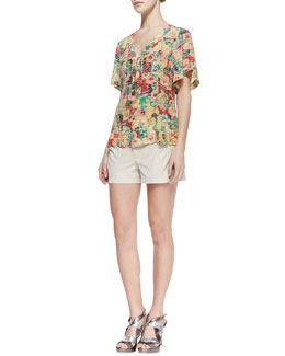 Nanette Lepore Visionary Floral-Print Zip Top & Lovie Dovie Gathered Twill Shorts