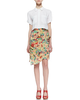 Nanette Lepore Infatuation Crepe De Chine Short-Sleeve Top & Forever Falling Silk Layered Ruched Skirt