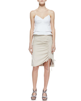 Nanette Lepore Guilty Pleasure Knit Sleeveless Top & Whimsy Poplin Ruched Skirt